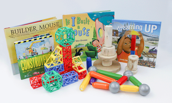 contents of the Building By Design, Wee Play and Learn Activity Kit